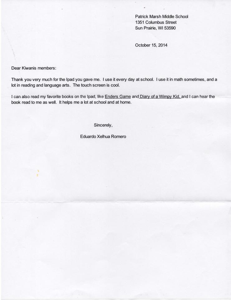 Eduardo Xelhua Romero Thank You Letter