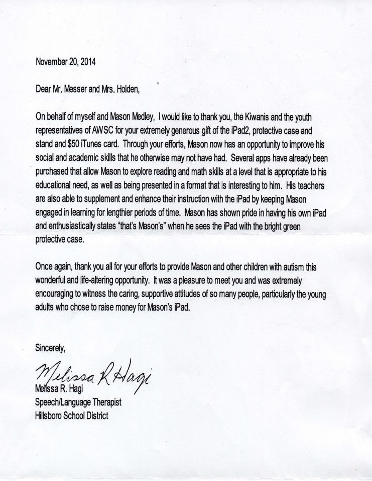 Mason Medley Thank You letter