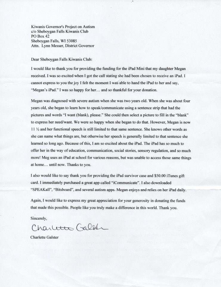 Charlette Galster Thank You letter